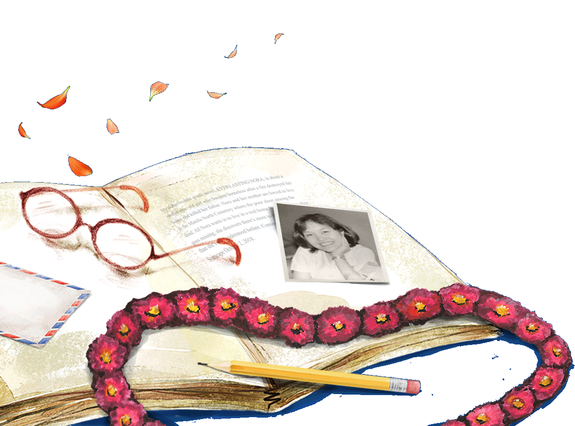 Opened book, glasses, envelope, pencil, Marie's photo, and a garland of everlasting flowers